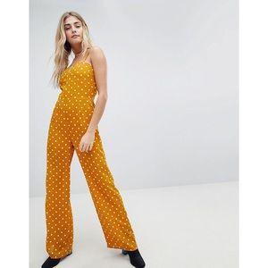 Pants - Mustard Polka Dot Jumpsuit